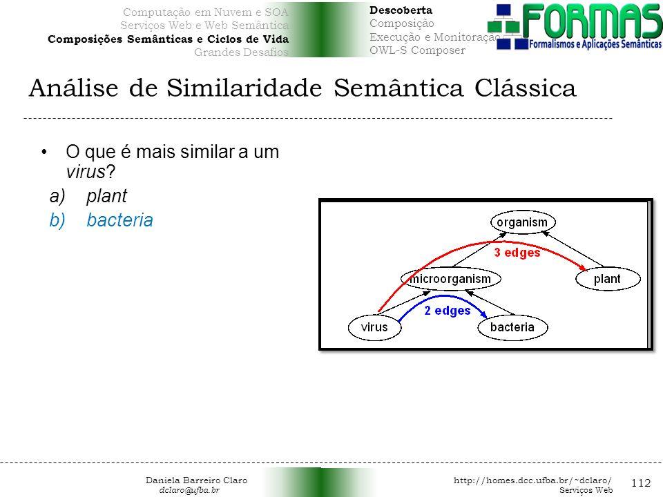 Análise de Similaridade Semântica Clássica 112 O que é mais similar a um virus.
