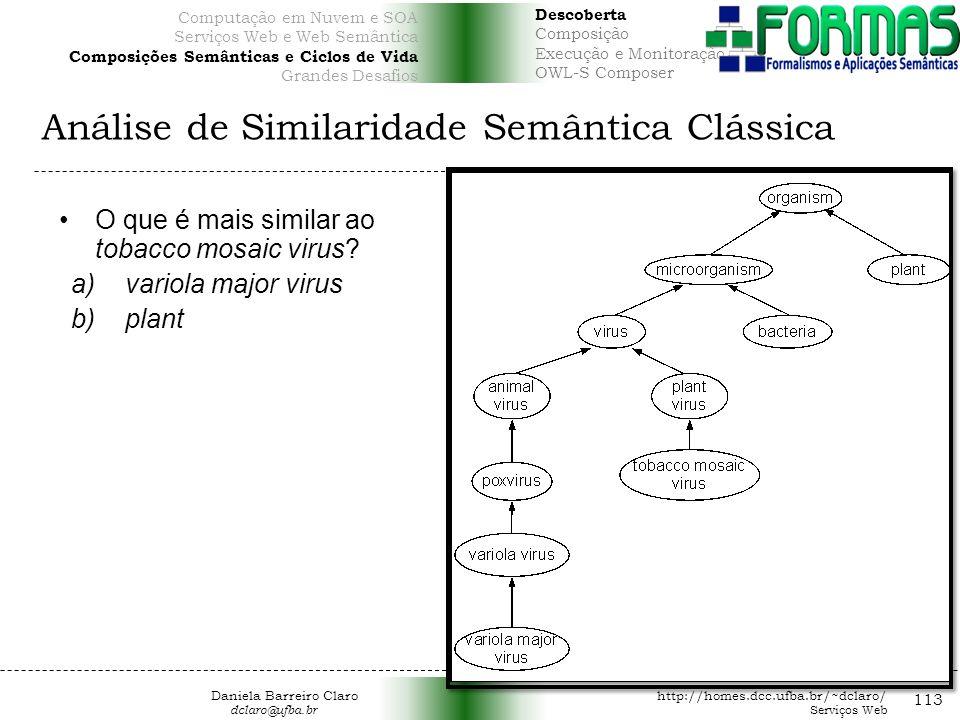 Análise de Similaridade Semântica Clássica 113 O que é mais similar ao tobacco mosaic virus.