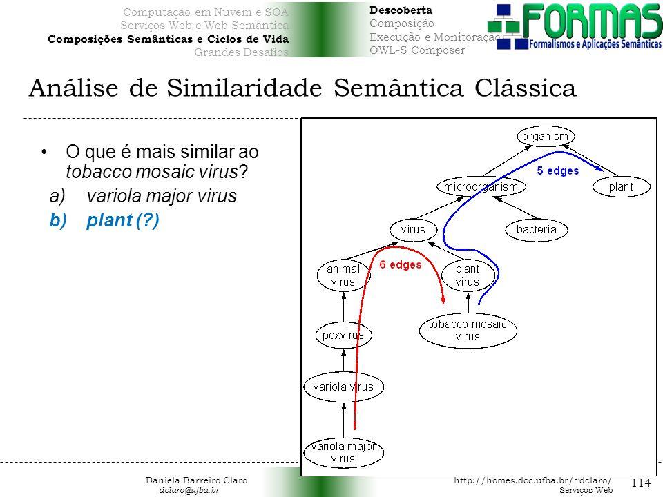 Análise de Similaridade Semântica Clássica 114 O que é mais similar ao tobacco mosaic virus.