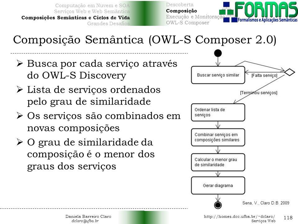 Composição Semântica (OWL-S Composer 2.0) 118 Busca por cada serviço através do OWL-S Discovery Lista de serviços ordenados pelo grau de similaridade Os serviços são combinados em novas composições O grau de similaridade da composição é o menor dos graus dos serviços Sena, V., Claro D.B.