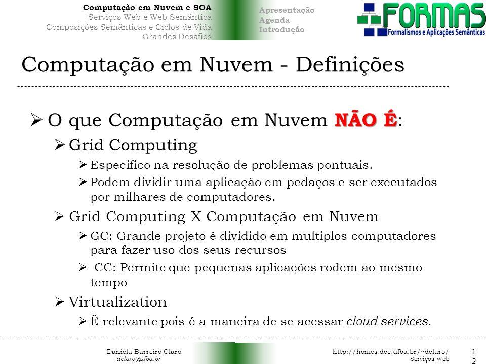 Computação em Nuvem - Definições NÃO É O que Computação em Nuvem NÃO É : Grid Computing Especifico na resolução de problemas pontuais.