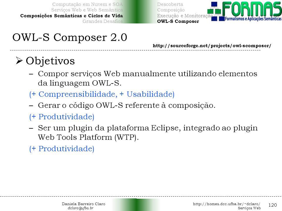 OWL-S Composer 2.0 120 Objetivos –Compor serviços Web manualmente utilizando elementos da linguagem OWL-S.