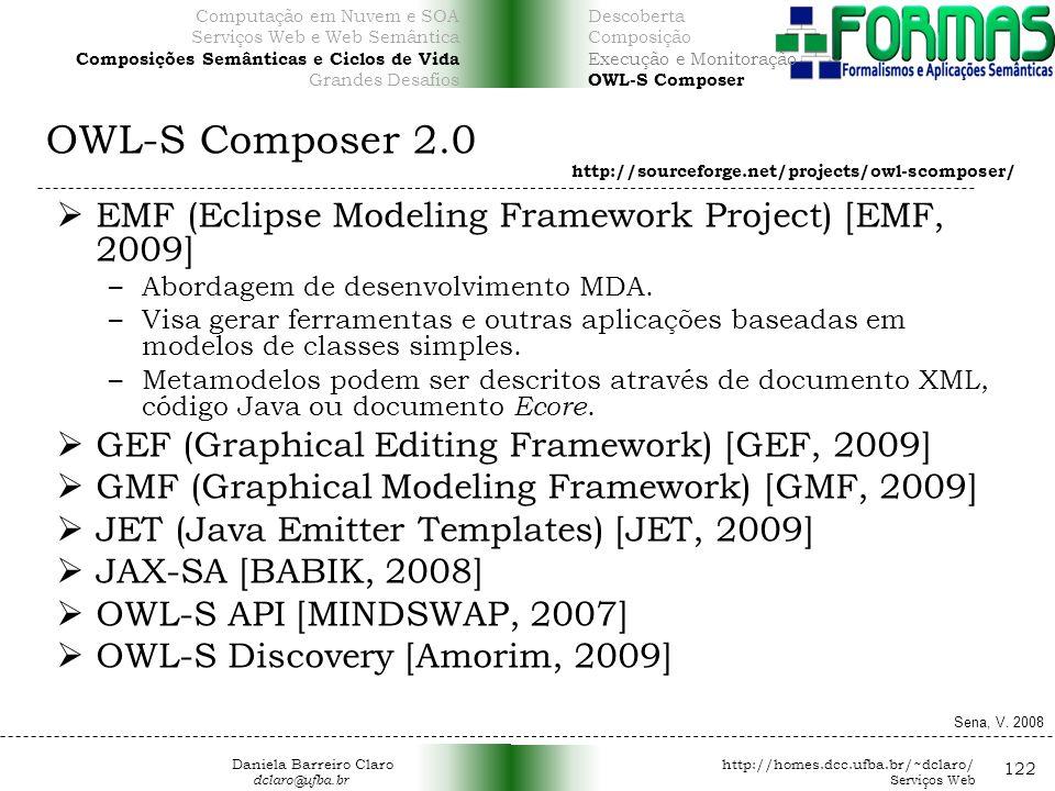 OWL-S Composer 2.0 122 EMF (Eclipse Modeling Framework Project) [EMF, 2009] –Abordagem de desenvolvimento MDA.