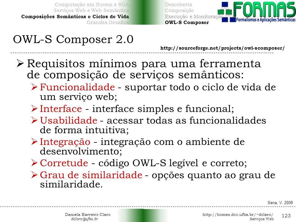 OWL-S Composer 2.0 123 Requisitos mínimos para uma ferramenta de composição de serviços semânticos: Funcionalidade - suportar todo o ciclo de vida de um serviço web; Interface - interface simples e funcional; Usabilidade - acessar todas as funcionalidades de forma intuitiva; Integração - integração com o ambiente de desenvolvimento; Corretude - código OWL-S legível e correto; Grau de similaridade - opções quanto ao grau de similaridade.