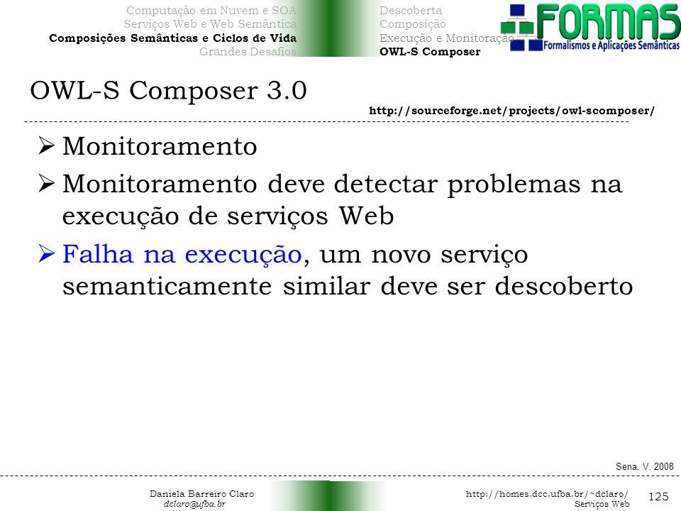 OWL-S Composer 3.0 125 Monitoramento Monitoramento deve detectar problemas na execução de serviços Web Falha na execução, um novo serviço semanticamente similar deve ser descoberto http://sourceforge.net/projects/owl-scomposer/ Sena, V.