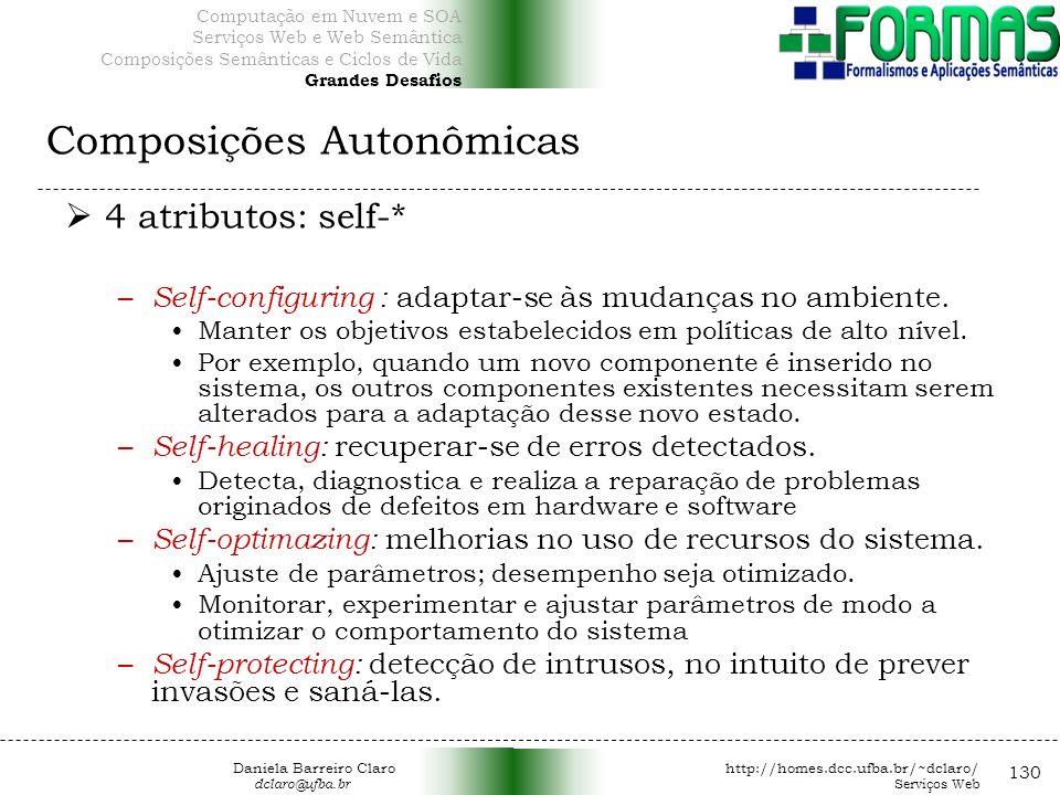 Composições Autonômicas 130 4 atributos: self-* – Self-configuring : adaptar-se às mudanças no ambiente.