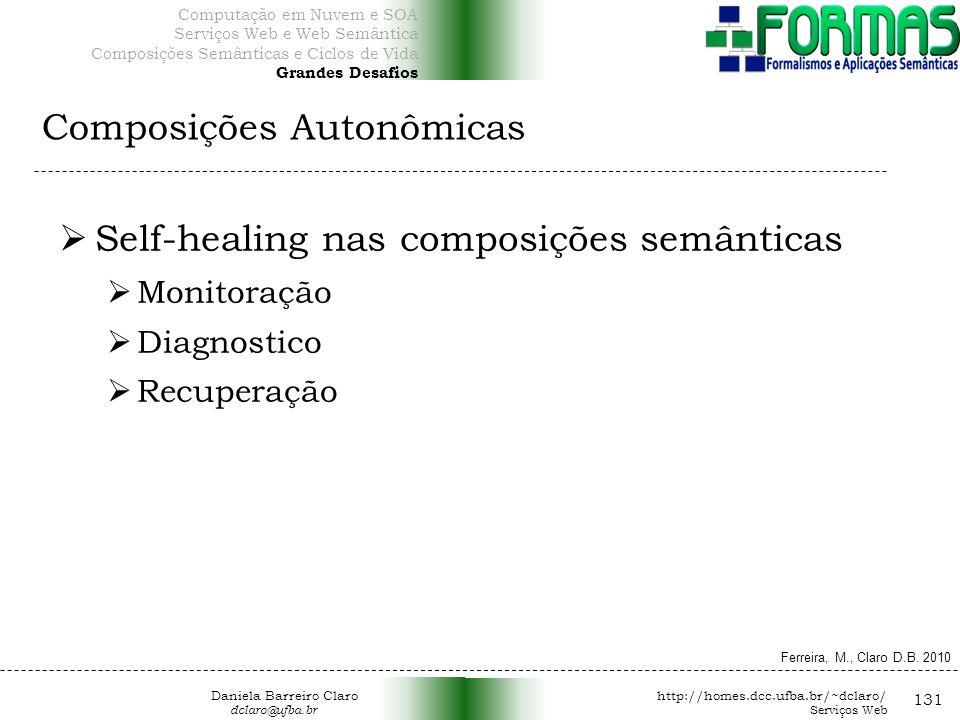 Composições Autonômicas 131 Self-healing nas composições semânticas Monitoração Diagnostico Recuperação Ferreira, M., Claro D.B.