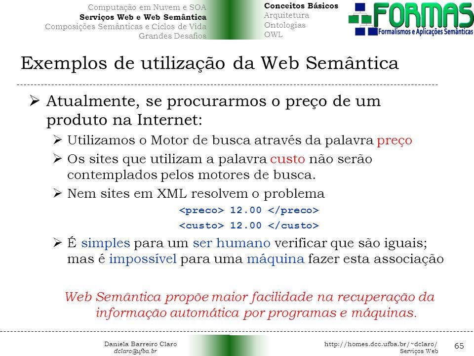 Exemplos de utilização da Web Semântica Atualmente, se procurarmos o preço de um produto na Internet: Utilizamos o Motor de busca através da palavra preço Os sites que utilizam a palavra custo não serão contemplados pelos motores de busca.