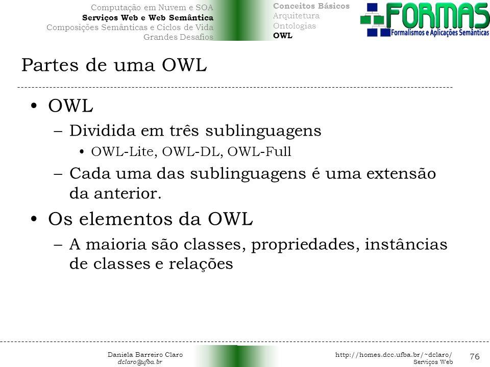 Partes de uma OWL 76 OWL –Dividida em três sublinguagens OWL-Lite, OWL-DL, OWL-Full –Cada uma das sublinguagens é uma extensão da anterior.