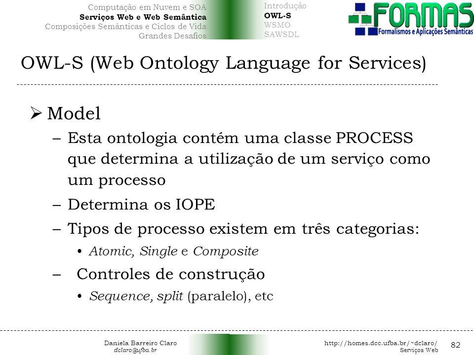 OWL-S (Web Ontology Language for Services) 82 Model –Esta ontologia contém uma classe PROCESS que determina a utilização de um serviço como um processo –Determina os IOPE –Tipos de processo existem em três categorias: Atomic, Single e Composite –Controles de construção Sequence, split (paralelo), etc Daniela Barreiro Claro http://homes.dcc.ufba.br/~dclaro/ dclaro@ufba.br Serviços Web Introdução OWL-S WSMO SAWSDL Computação em Nuvem e SOA Serviços Web e Web Semântica Composições Semânticas e Ciclos de Vida Grandes Desafios