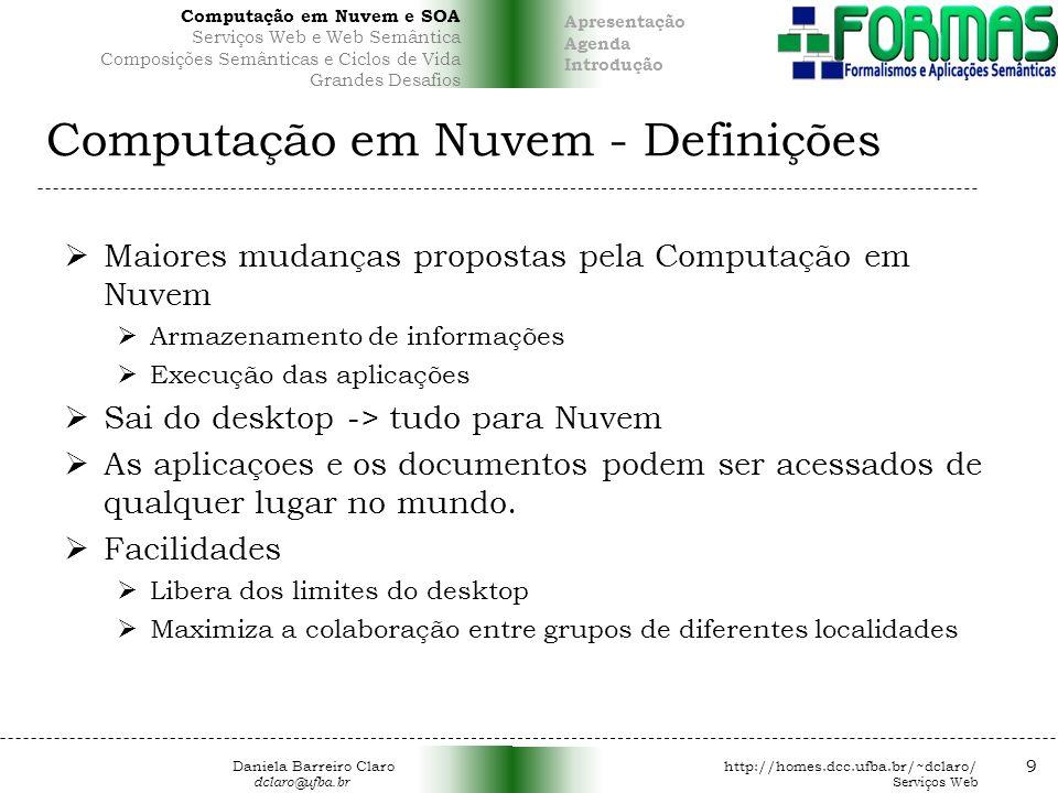 Computação em Nuvem - Definições Maiores mudanças propostas pela Computação em Nuvem Armazenamento de informações Execução das aplicações Sai do desktop -> tudo para Nuvem As aplicaçoes e os documentos podem ser acessados de qualquer lugar no mundo.