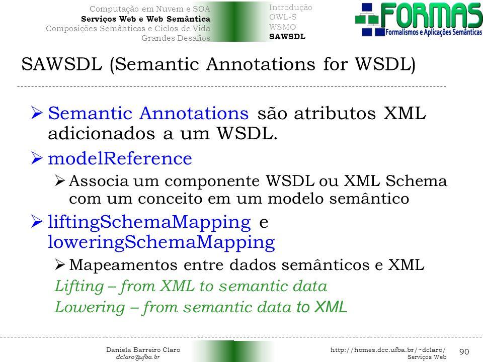 SAWSDL (Semantic Annotations for WSDL) 90 Semantic Annotations são atributos XML adicionados a um WSDL.