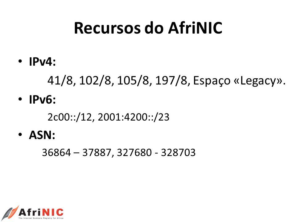Recursos do AfriNIC IPv4: 41/8, 102/8, 105/8, 197/8, Espaço «Legacy». IPv6: 2c00::/12, 2001:4200::/23 ASN: 36864 – 37887, 327680 - 328703