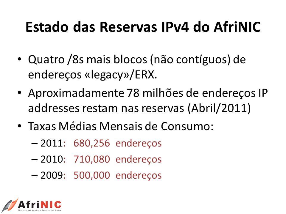 Estado das Reservas IPv4 do AfriNIC Quatro /8s mais blocos (não contíguos) de endereços «legacy»/ERX. Aproximadamente 78 milhões de endereços IP addre