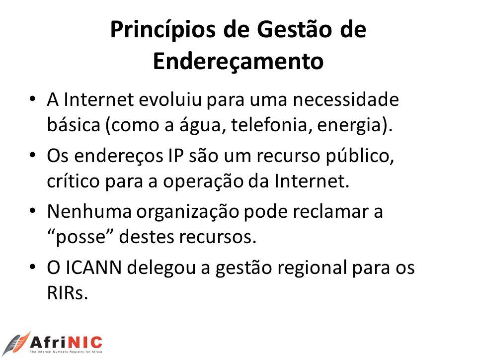 Princípios de Gestão de Endereçamento A Internet evoluiu para uma necessidade básica (como a água, telefonia, energia). Os endereços IP são um recurso