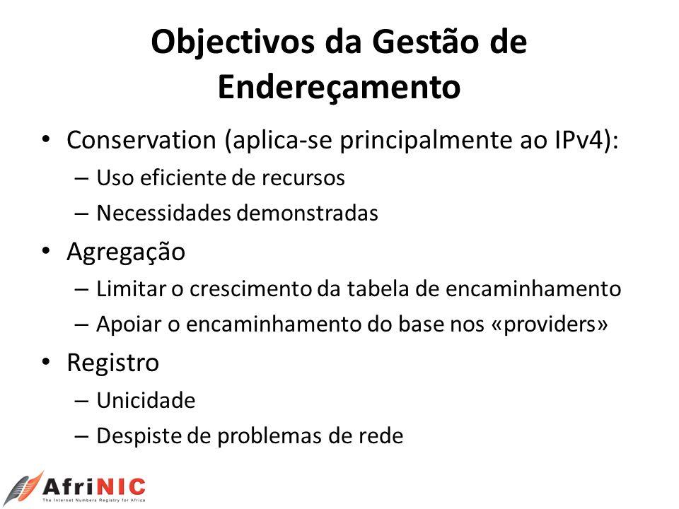 Objectivos da Gestão de Endereçamento Conservation (aplica-se principalmente ao IPv4): – Uso eficiente de recursos – Necessidades demonstradas Agregaç