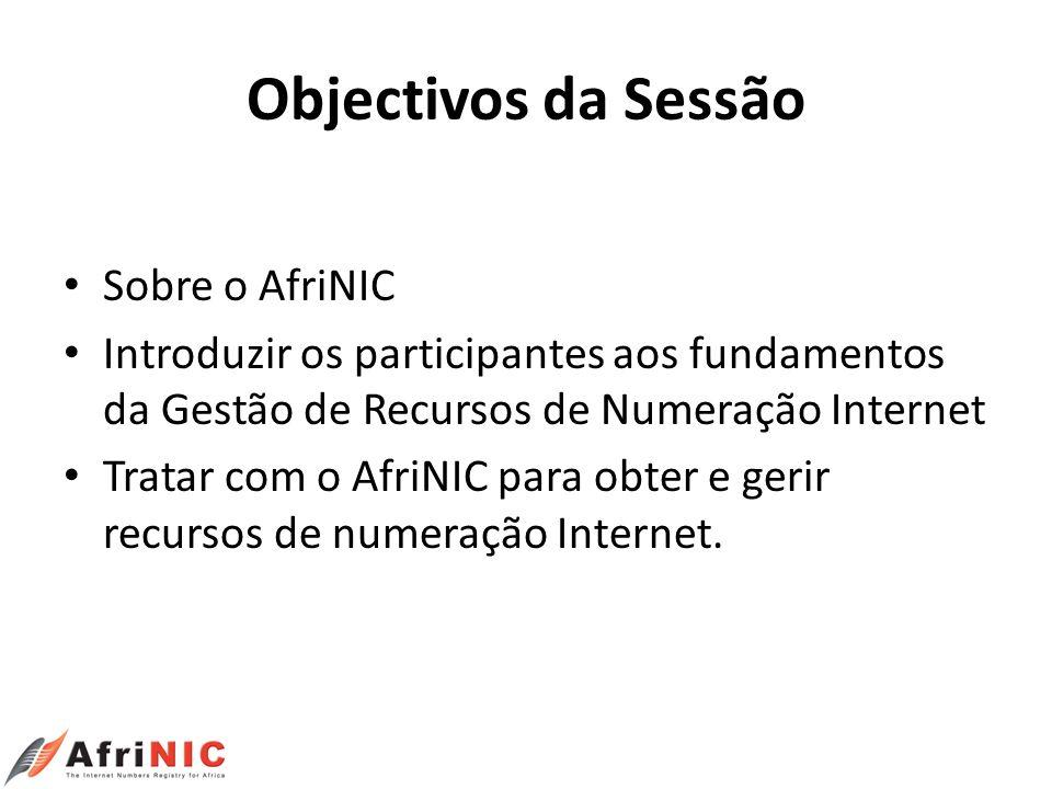 Objectivos da Sessão Sobre o AfriNIC Introduzir os participantes aos fundamentos da Gestão de Recursos de Numeração Internet Tratar com o AfriNIC para
