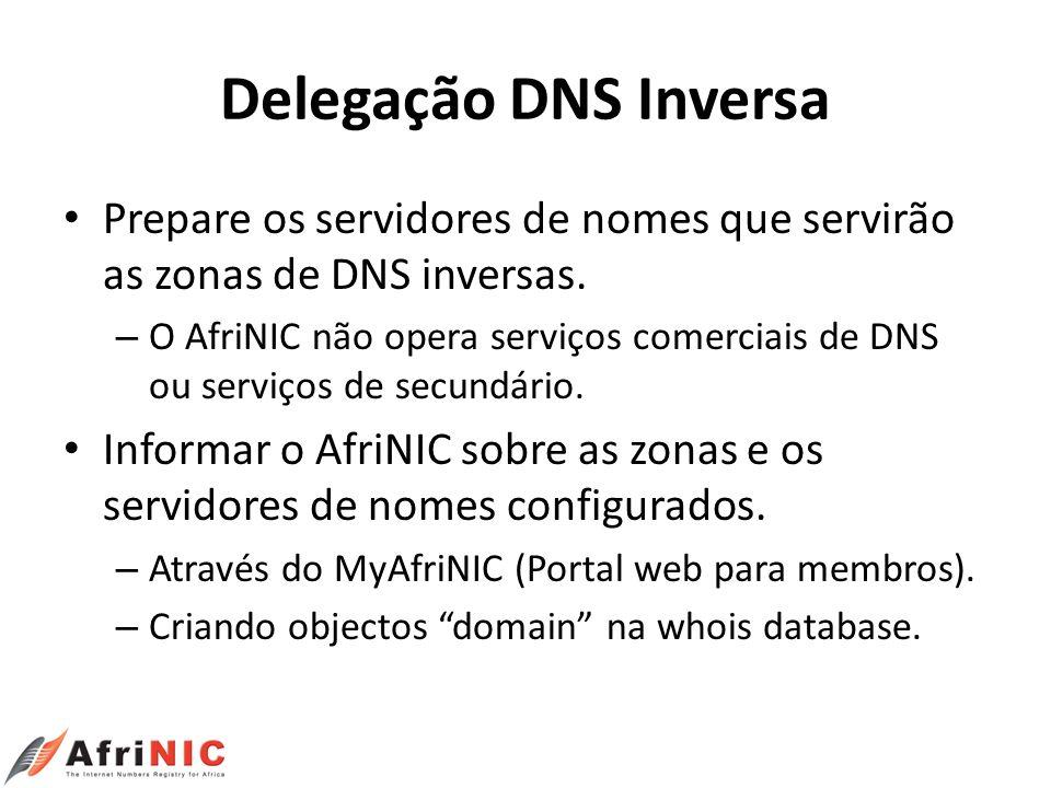 Delegação DNS Inversa Prepare os servidores de nomes que servirão as zonas de DNS inversas. – O AfriNIC não opera serviços comerciais de DNS ou serviç