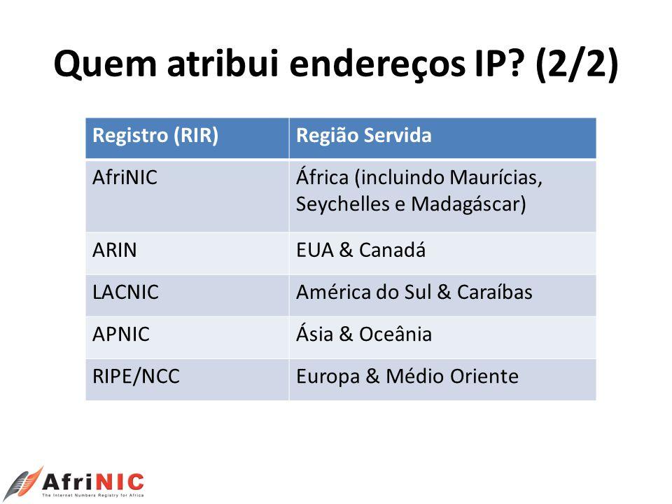 Quem atribui endereços IP? (2/2) Registro (RIR)Região Servida AfriNICÁfrica (incluindo Maurícias, Seychelles e Madagáscar) ARINEUA & Canadá LACNICAmér