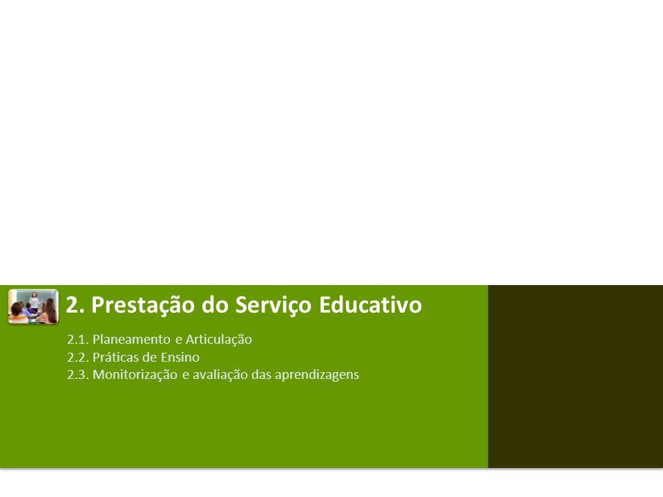 2. Prestação do Serviço Educativo 2.1. Planeamento e Articulação 2.2. Práticas de Ensino 2.3. Monitorização e avaliação das aprendizagens