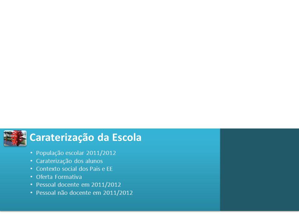 Caraterização da Escola Caracterização dos alunos 3ºCICLO SECUNDÁRIO REGULAR SECUNDÁRIO PROFISSIONAL TOTAL ALUNOS COM ASE 7831%14128%9139%31031% ALUNOS COM NEE 117119 ALUNOS ESTRANGEIROS 10392473 População escolar em 2011/2012