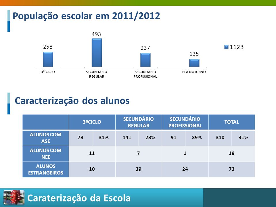 Caraterização da Escola Caracterização dos alunos 3ºCICLO SECUNDÁRIO REGULAR SECUNDÁRIO PROFISSIONAL TOTAL ALUNOS COM ASE 7831%14128%9139%31031% ALUNO