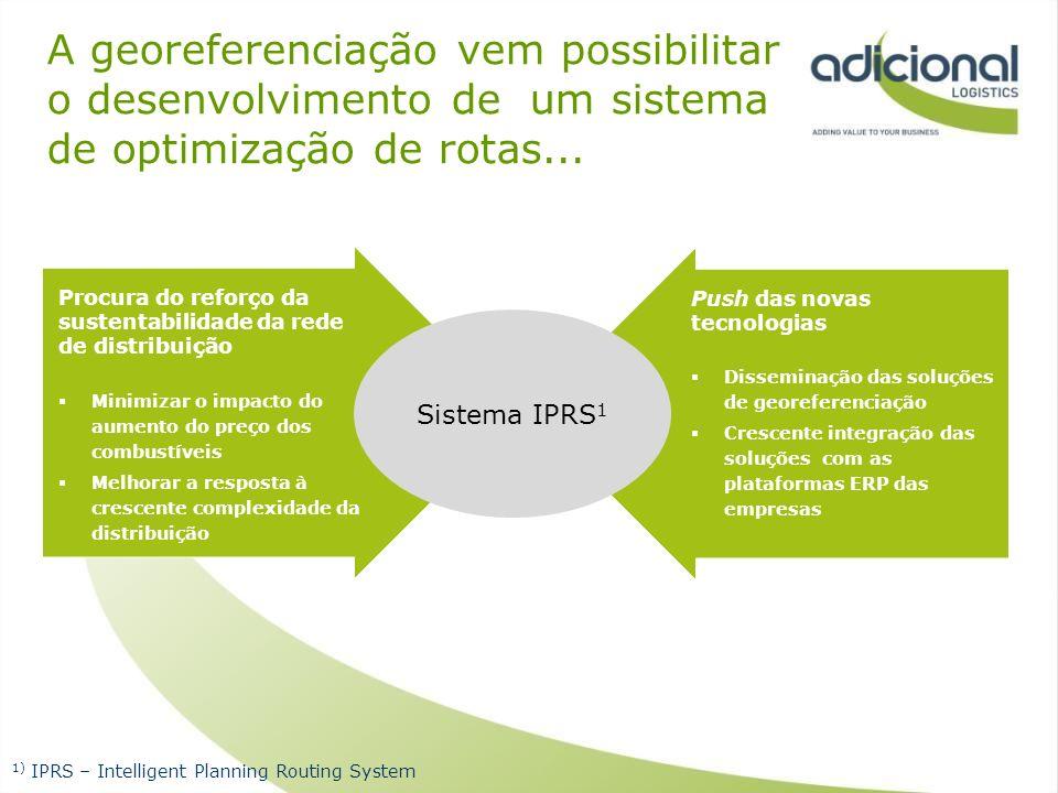 A georeferenciação vem possibilitar o desenvolvimento de um sistema de optimização de rotas... Procura do reforço da sustentabilidade da rede de distr