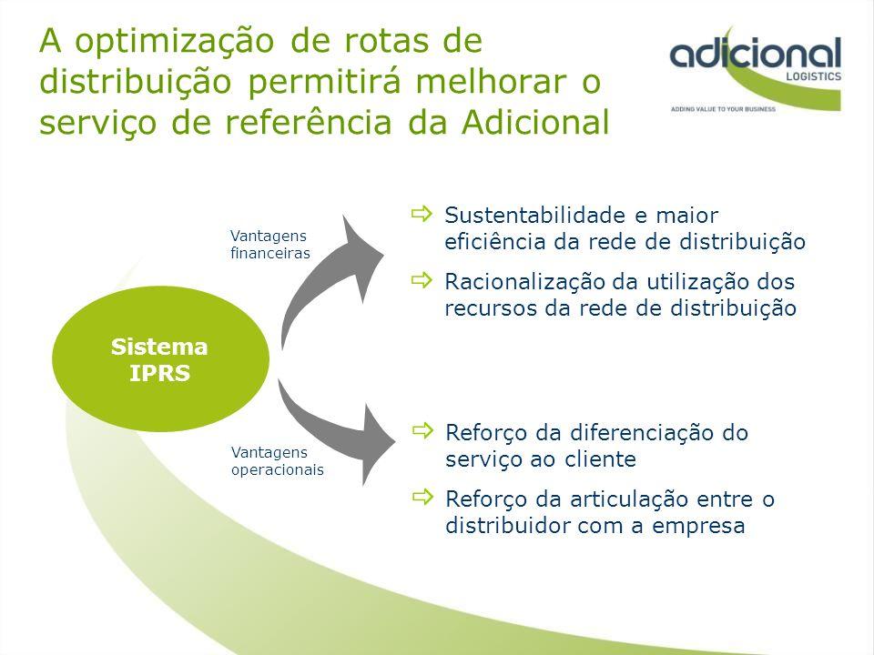 A optimização de rotas de distribuição permitirá melhorar o serviço de referência da Adicional Sistema IPRS Reforço da diferenciação do serviço ao cli
