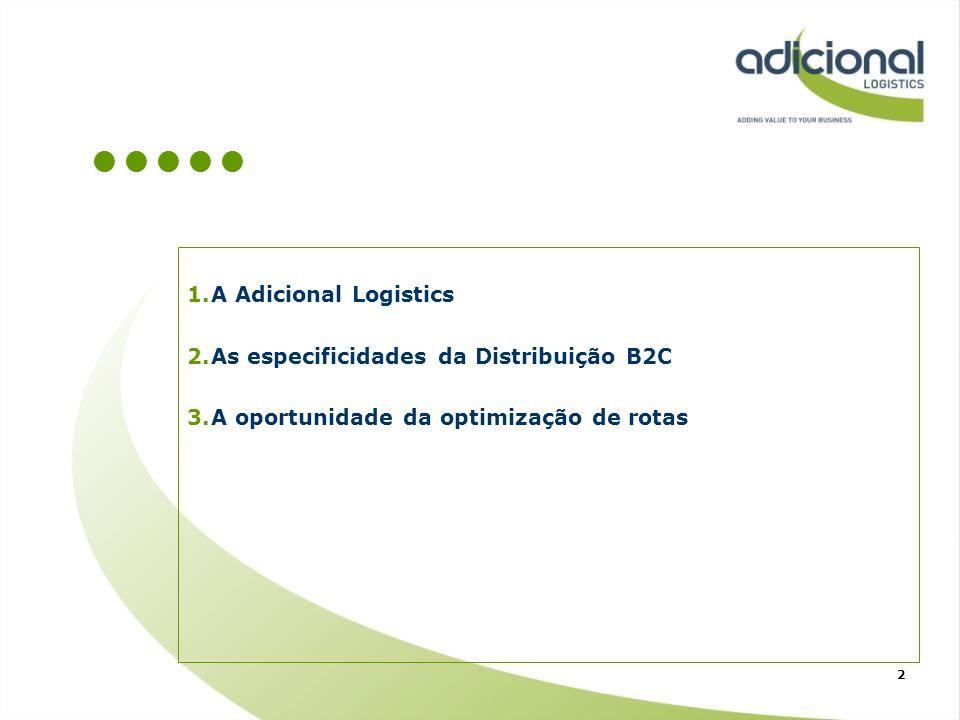 1.A Adicional Logistics 2.As especificidades da Distribuição B2C 3.A oportunidade da optimização de rotas 2
