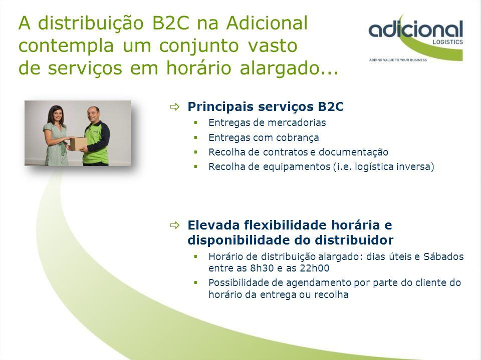 A distribuição B2C na Adicional contempla um conjunto vasto de serviços em horário alargado... Principais serviços B2C Entregas de mercadorias Entrega