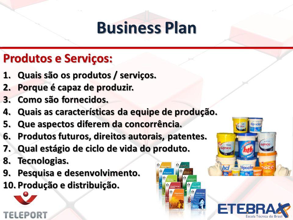 Business Plan Produtos e Serviços: 1.Quais são os produtos / serviços. 2.Porque é capaz de produzir. 3.Como são fornecidos. 4.Quais as características