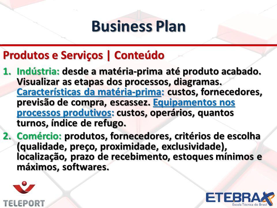 Business Plan Produtos e Serviços | Conteúdo 1.Indústria: desde a matéria-prima até produto acabado. Visualizar as etapas dos processos, diagramas. Ca