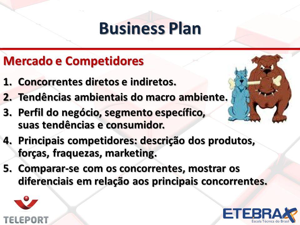 Business Plan Mercado e Competidores 1.Concorrentes diretos e indiretos. 2.Tendências ambientais do macro ambiente. 3.Perfil do negócio, segmento espe