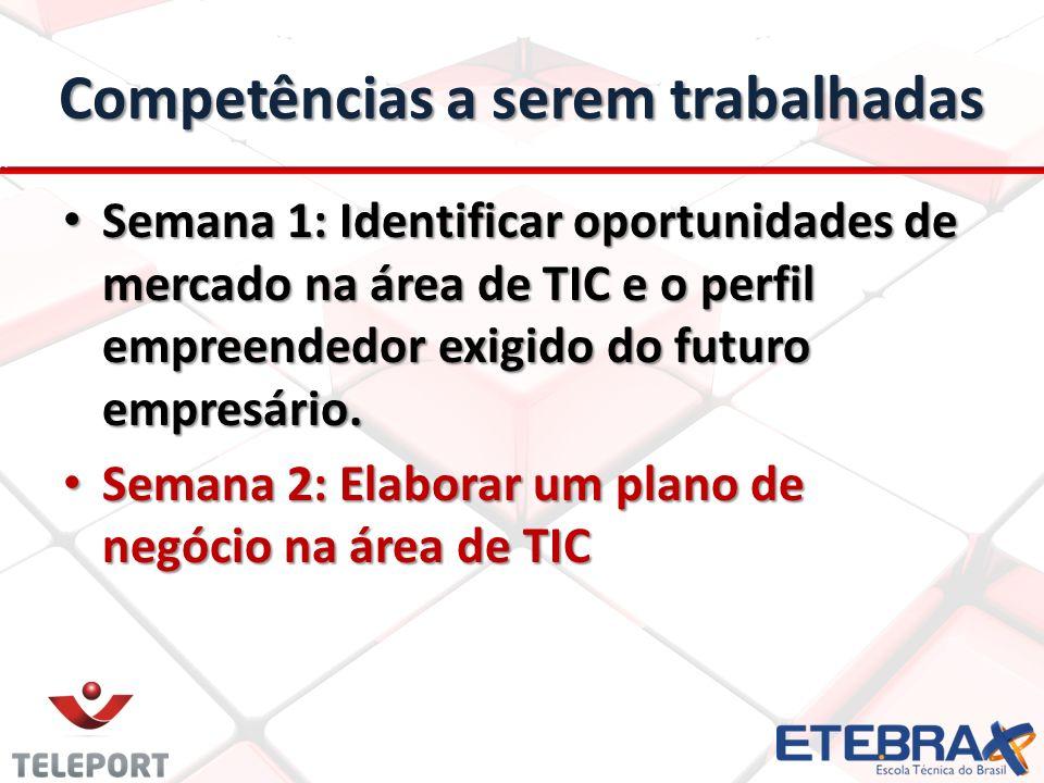 Competências a serem trabalhadas Semana 1: Identificar oportunidades de mercado na área de TIC e o perfil empreendedor exigido do futuro empresário. S