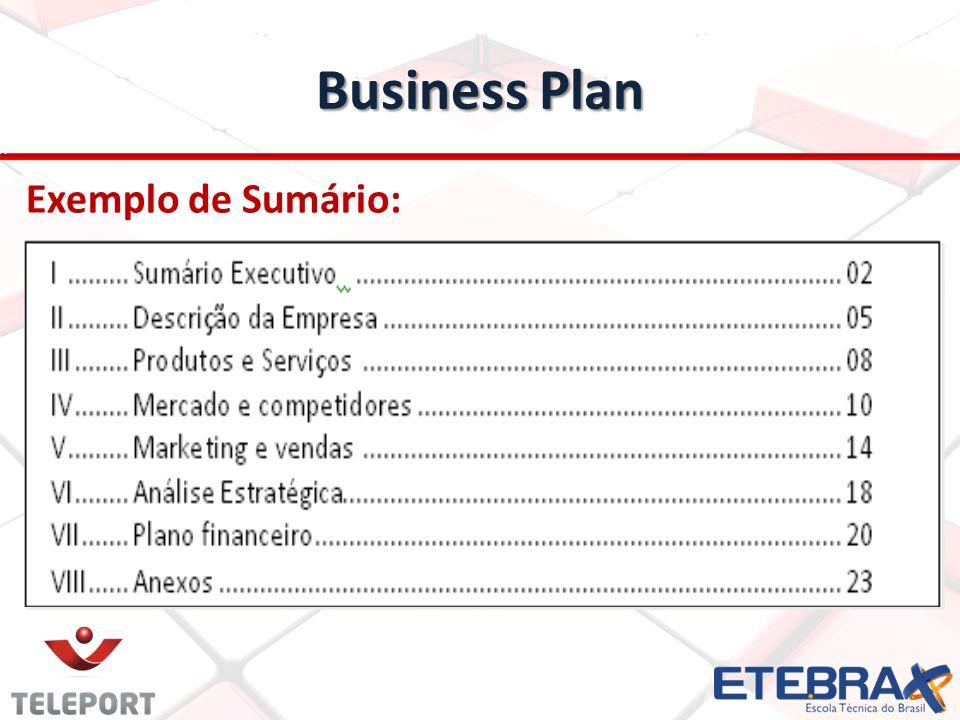 Business Plan Exemplo de Sumário: