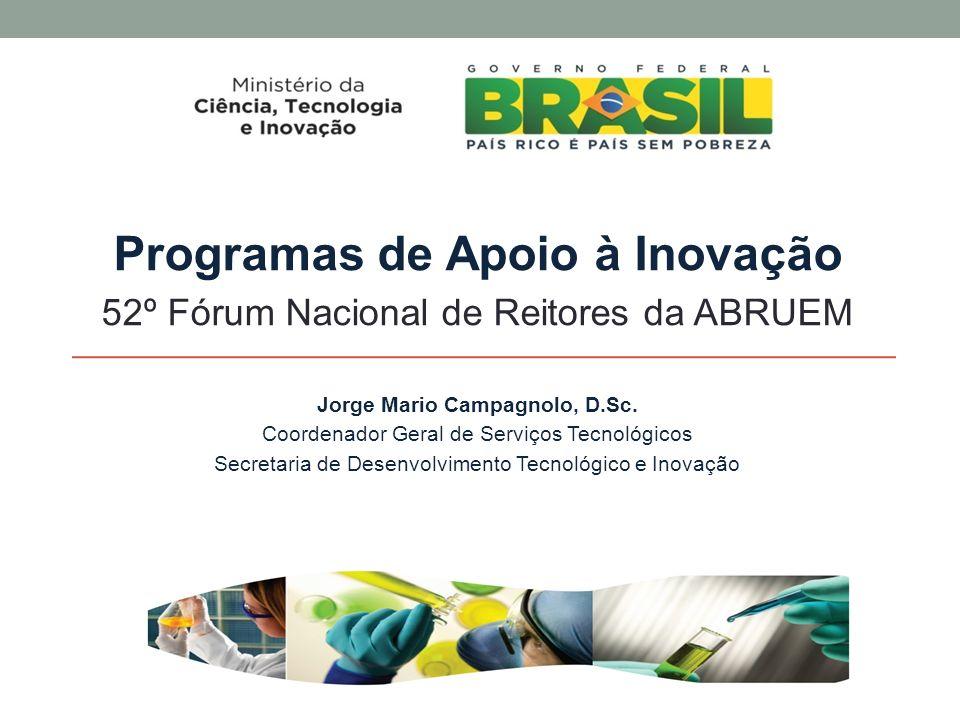 Programas de Apoio à Inovação 52º Fórum Nacional de Reitores da ABRUEM Jorge Mario Campagnolo, D.Sc.