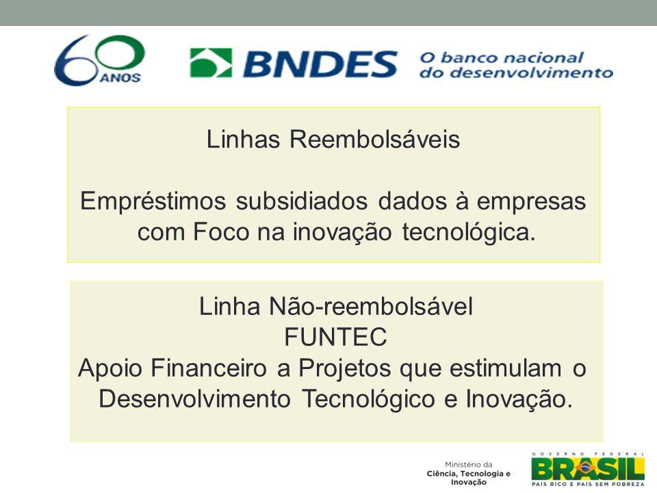Linhas Reembolsáveis Empréstimos subsidiados dados à empresas com Foco na inovação tecnológica.