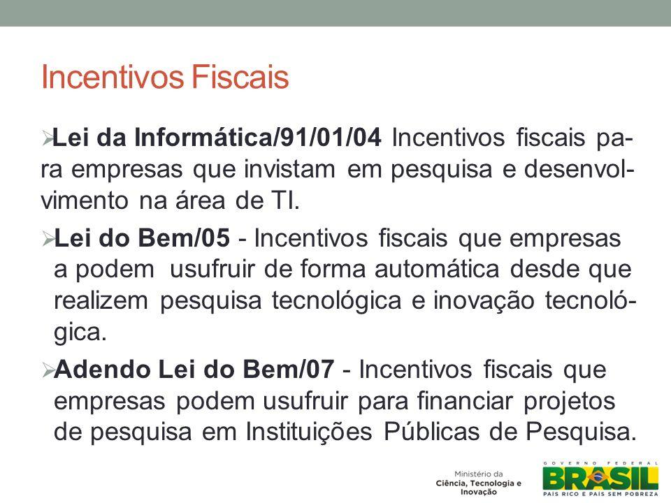 Incentivos Fiscais Lei da Informática/91/01/04 Incentivos fiscais pa- ra empresas que invistam em pesquisa e desenvol- vimento na área de TI.