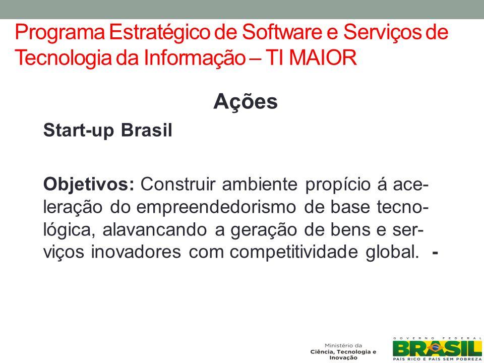 Programa Estratégico de Software e Serviços de Tecnologia da Informação – TI MAIOR Ações Start-up Brasil Objetivos: Construir ambiente propício á ace- leração do empreendedorismo de base tecno- lógica, alavancando a geração de bens e ser- viços inovadores com competitividade global.