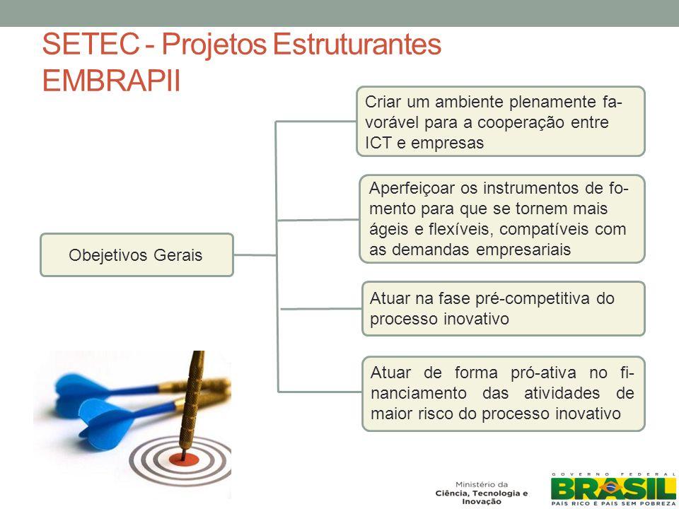 SETEC - Projetos Estruturantes EMBRAPII Obejetivos Gerais Criar um ambiente plenamente fa- vorável para a cooperação entre ICT e empresas Atuar na fase pré-competitiva do processo inovativo Aperfeiçoar os instrumentos de fo- mento para que se tornem mais ágeis e flexíveis, compatíveis com as demandas empresariais Atuar de forma pró-ativa no fi- nanciamento das atividades de maior risco do processo inovativo