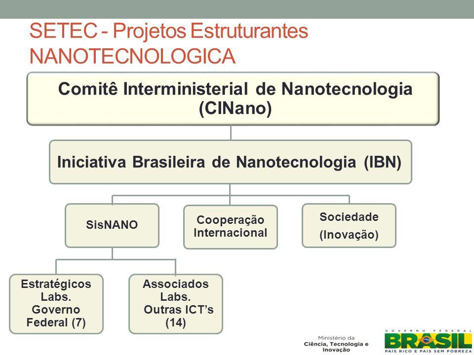 SETEC - Projetos Estruturantes NANOTECNOLOGICA Comitê Interministerial de Nanotecnologia (CINano) Iniciativa Brasileira de Nanotecnologia (IBN) Sociedade (Inovação) Cooperação Internacional SisNANO Estratégicos Labs.