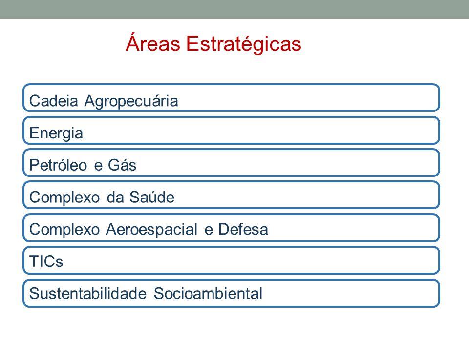 Petróleo e Gás TICs Sustentabilidade Socioambiental Complexo Aeroespacial e Defesa Energia Complexo da Saúde Cadeia Agropecuária Áreas Estratégicas