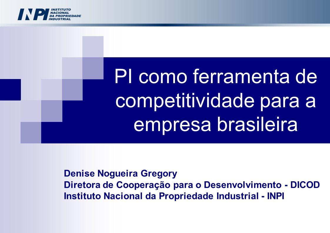 Denise Nogueira Gregory Diretora de Cooperação para o Desenvolvimento - DICOD Instituto Nacional da Propriedade Industrial - INPI PI como ferramenta d
