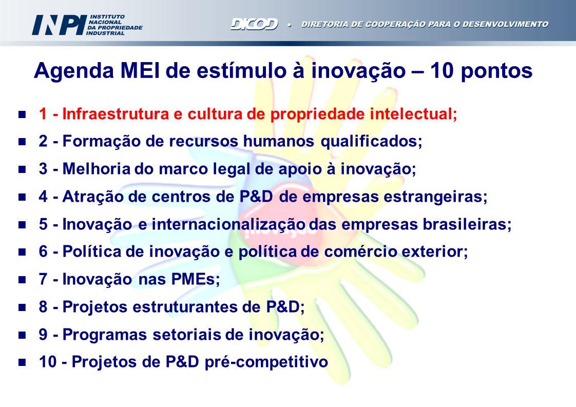 1 - Infraestrutura e cultura de propriedade intelectual; 2 - Formação de recursos humanos qualificados; 3 - Melhoria do marco legal de apoio à inovaçã