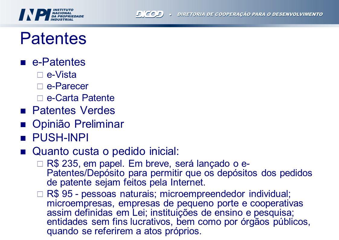 Patentes e-Patentes e-Vista e-Parecer e-Carta Patente Patentes Verdes Opinião Preliminar PUSH-INPI Quanto custa o pedido inicial: R$ 235, em papel. Em