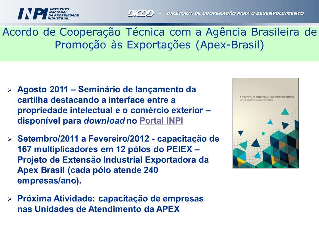 Agosto 2011 – Seminário de lançamento da cartilha destacando a interface entre a propriedade intelectual e o comércio exterior – disponível para downl