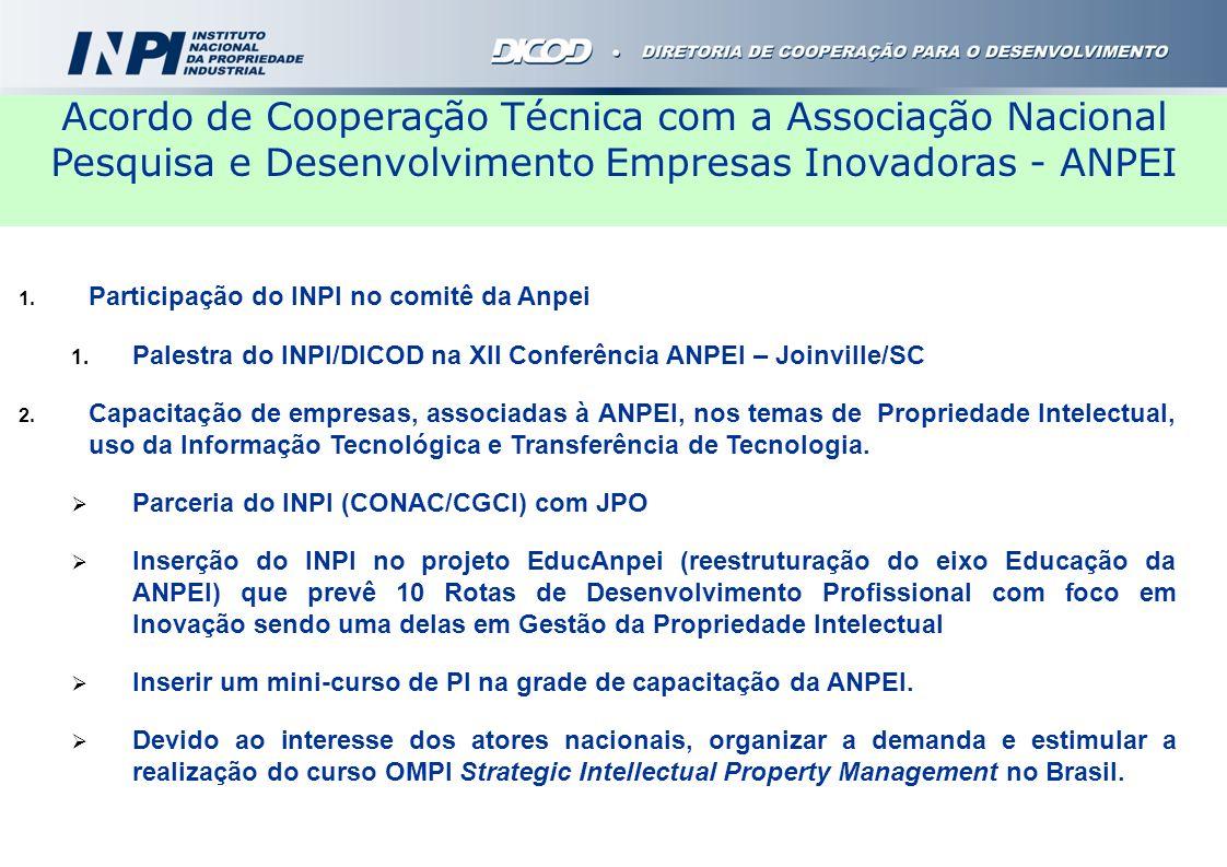 1. Participação do INPI no comitê da Anpei 1. Palestra do INPI/DICOD na XII Conferência ANPEI – Joinville/SC 2. Capacitação de empresas, associadas à