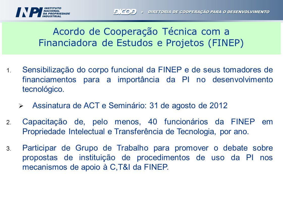 1. Sensibilização do corpo funcional da FINEP e de seus tomadores de financiamentos para a importância da PI no desenvolvimento tecnológico. Assinatur