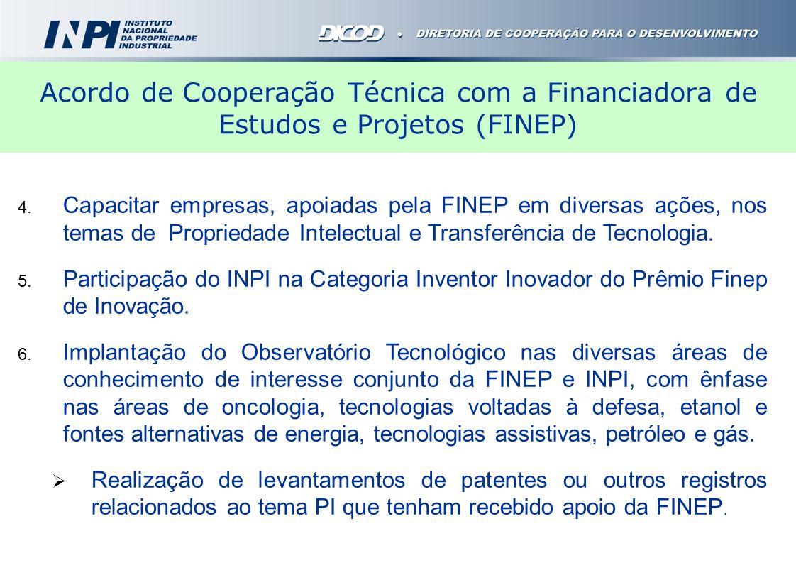 4. Capacitar empresas, apoiadas pela FINEP em diversas ações, nos temas de Propriedade Intelectual e Transferência de Tecnologia. 5. Participação do I