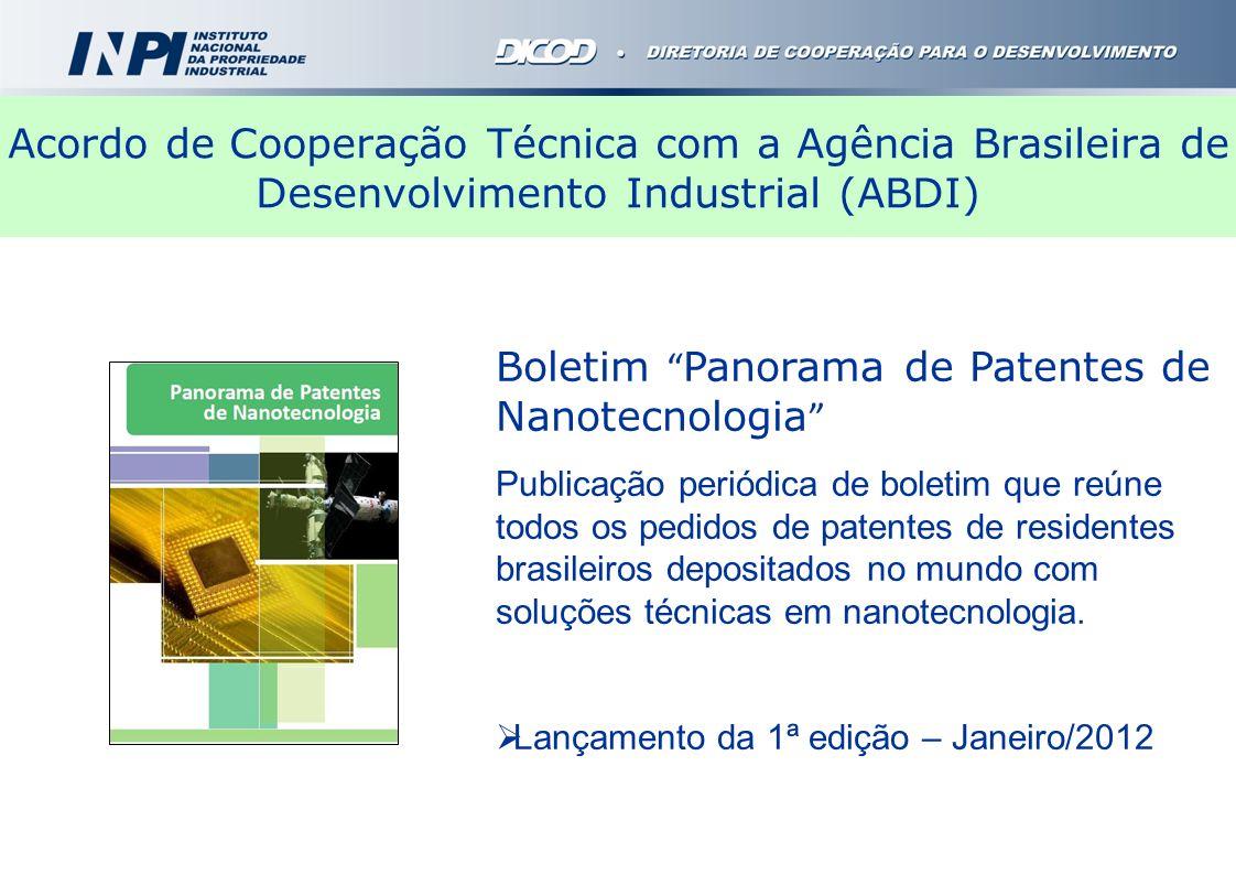 Acordo de Cooperação Técnica com a Agência Brasileira de Desenvolvimento Industrial (ABDI) Boletim Panorama de Patentes de Nanotecnologia Publicação p